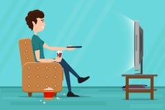 在扶手椅子的人观看的电视 平的传染媒介 免版税库存图片