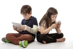 在技术大字书写的孩子 图库摄影