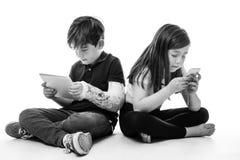 在技术大字书写的孩子 库存图片