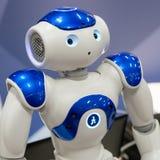 在技术插孔的机器人在米兰,意大利 库存图片