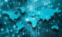 在技术背景的世界地图,发光排行互联网、收音机、电视、机动性和卫星的标志 免版税库存图片