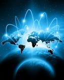 在技术背景的世界地图 最佳的企业概念全球互联网 用装备的这个图象的元素  向量例证