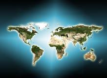 在技术背景的世界地图 最佳的企业概念全球互联网 用装备的这个图象的元素  皇族释放例证