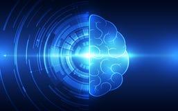 在技术背景的传染媒介抽象人脑代表人工智能 库存照片