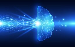 在技术背景的传染媒介抽象人脑代表人工智能 图库摄影