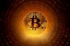 在技术背景的金黄bitcoin硬币 免版税库存图片