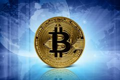 在技术背景的金黄bitcoin硬币 免版税库存照片