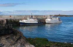在把游人和本机带从Doolin口岸的爱尔兰的西方的Doolin渡轮到Aran海岛 免版税库存照片