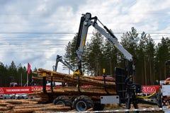 在投入日志的行动的Kesla起重机对一辆采伐的卡车 免版税库存图片