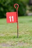 在投入路线的高尔夫球的第11个孔 库存照片