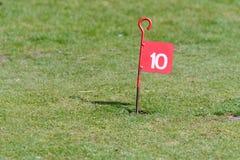 在投入路线的高尔夫球的第10个孔 库存图片
