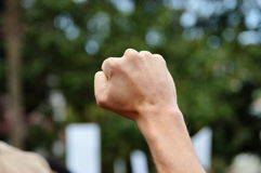 在抗议举的拳头 免版税库存图片