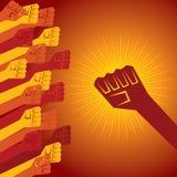 在抗议概念握的握紧拳头 免版税库存照片