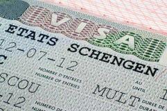 在护照的申根签证 免版税库存照片