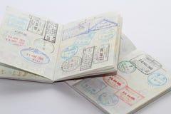在护照的签证 库存照片