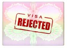 在护照的被拒绝的签证 免版税库存图片