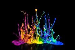 在报告人的五颜六色的油漆Spalsh 库存图片