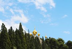 在抹大拉的马利亚俄国教会的全景位于橄榄山 免版税库存图片