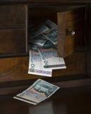在抽屉的瑞典金钱 库存图片