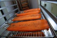 在抽烟的烤箱的鳟鱼内圆角 免版税图库摄影