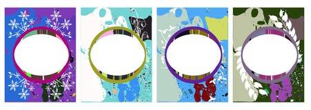 在抽象五颜六色的背景的横幅与花 图库摄影