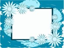 在抽象五颜六色的背景的横幅与花 免版税库存照片