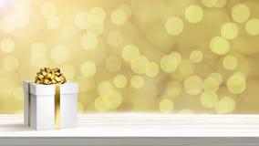 在抽象假日背景的白色圣诞节欢乐礼物盒 皇族释放例证