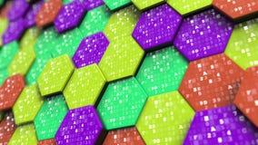 在抽象六角形的十六进制标志 编程,数学或者数字技术关系了3D翻译 免版税库存图片