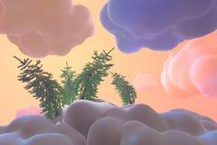在抽象印度桃花心木云彩和随风飘飞的雪的新年卡片圣诞节针叶树 概念性艺术3d例证 库存图片