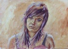 在抽象奶油色背景的绘的美丽的妇女画象 免版税库存图片