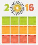 在抽象手机的新年日历2016年 免版税库存照片