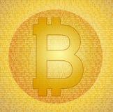 在抽象数字式背景的Bitcoin标志 图库摄影