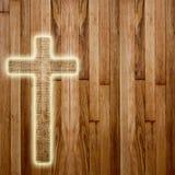 在抽象木背景的圣洁十字架 免版税库存图片