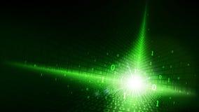在抽象未来派矩阵网际空间,与数字代码,在云彩服务的大数据的发光的绿色背景的二进制编码 库存例证