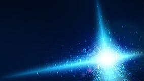 在抽象未来派网际空间,与数字式代码,在云彩服务的大数据的矩阵光亮的蓝色背景的二进制编码 向量例证