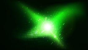 在抽象未来派网际空间,发光与数字代码,在云彩服务的大数据的矩阵的二进制编码绿色背景 库存例证