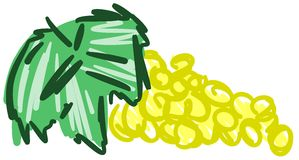 在抽象构成的风格化黄色葡萄 向量例证