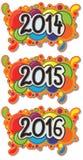 2014 - 在抽象泡影背景的2016年标志 库存图片