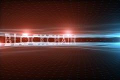 在抽象波浪网际空间背景的Blockchain词 免版税库存照片