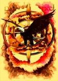 在抽象神秘的背景的老鹰。传染媒介 免版税库存照片