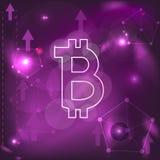 在抽象紫色背景的Bitcoin标志 图库摄影