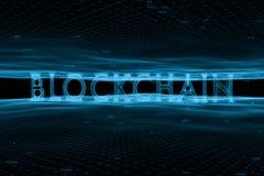 在抽象网络背景的未来派blockchain词 免版税库存图片