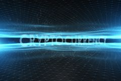 在抽象网络背景的Cryptocurrency词 库存图片