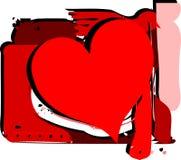 在抽象背景的心脏与斑点 免版税库存照片