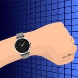 在抽象背景的手表 图库摄影
