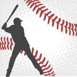 在抽象背景的棒球运动员剪影 向量例证
