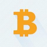 在抽象背景的橙色bitcoin标志 库存图片