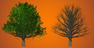 在抽象背景, 3D的树例证 库存照片