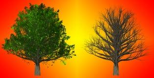在抽象背景, 3D的树例证 免版税库存照片