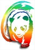 在抽象背景(颜色)的熊猫 (传染媒介) 免版税库存照片